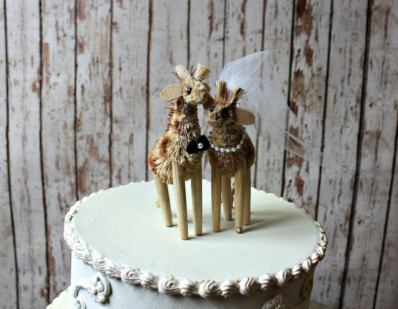 Giraffe Wedding Cake Topper Jungle Wedding By MorganTheCreator