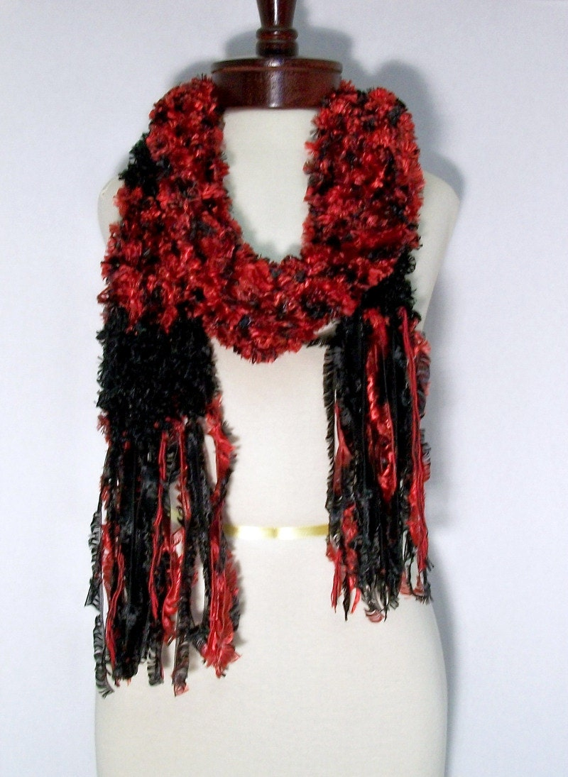 Knit Scarf Red and Black Velvety Fluff