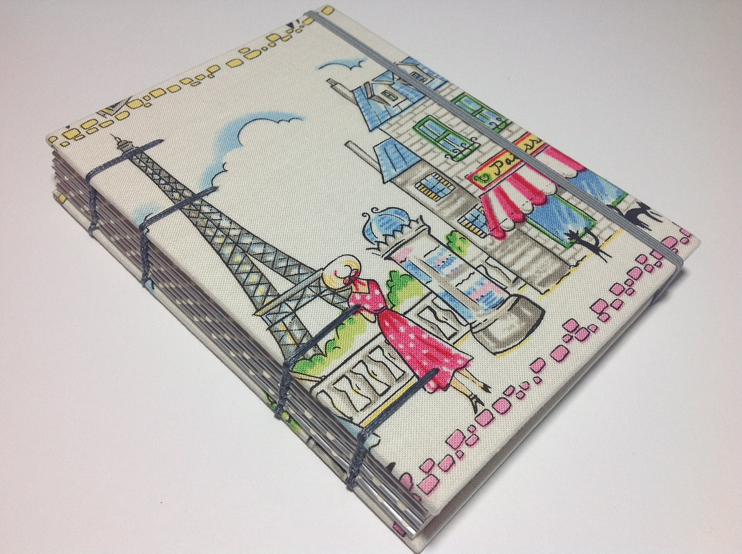 A day in Paris - Fabric Journal Notebook - Handmade - Coptic Stitched - Travel Holiday Vacation Journey - BBhandmades