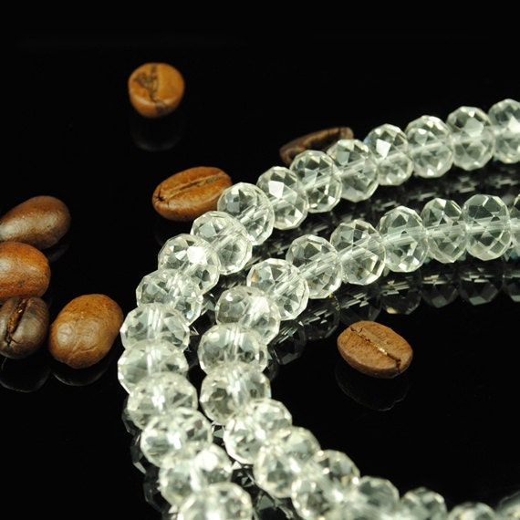 Swarovski Style Crystal Quartz Faceted Rondelle Beads Loose Beads