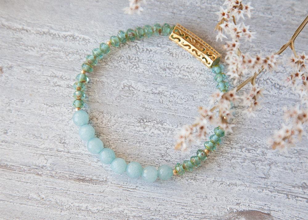 Aquamarine Bracelet Aqua Green Bracelet Aquamarine March Birthstone Bracelet Gemstone Stretch Bracelet Gifts for Her Birthday Boho Luxe