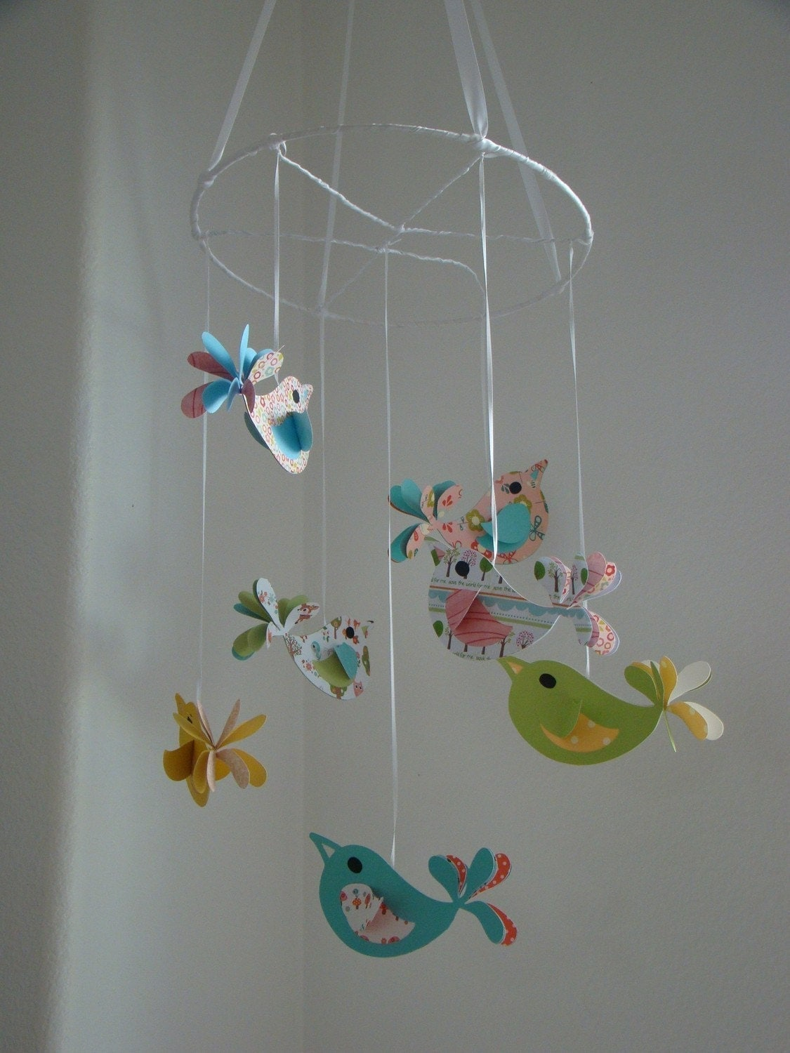 Pretty birds baby mobile nursery decor by magicalwhimsy on for Bird mobiles for nursery