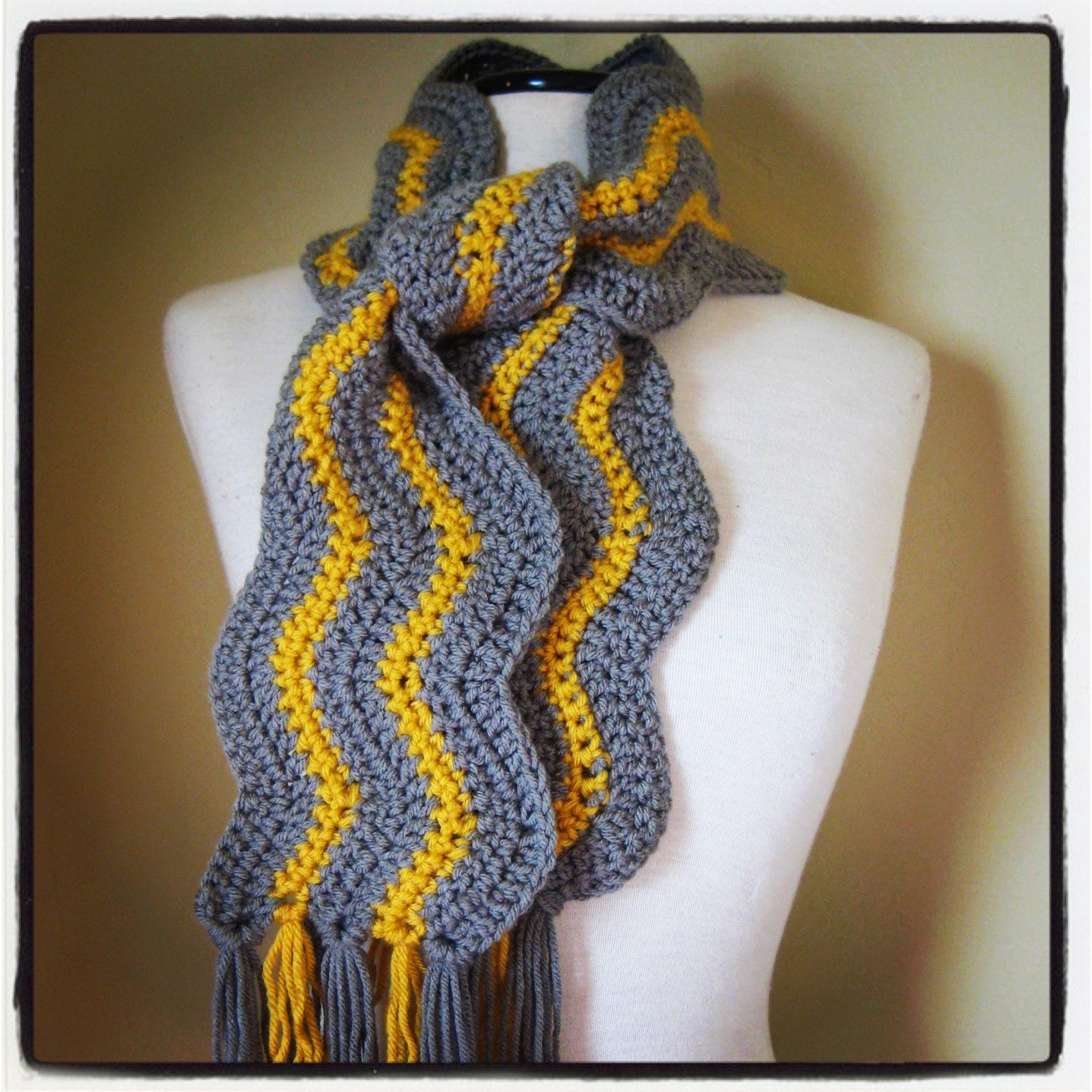 Chevron Yellow and Gray Scarf