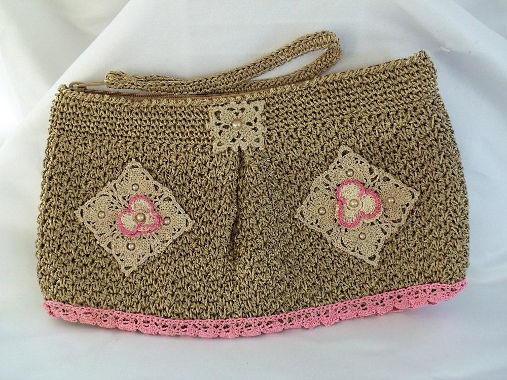 Pink Clutch Bag Spring Fling Crochet Purse By Hopscotchcouture