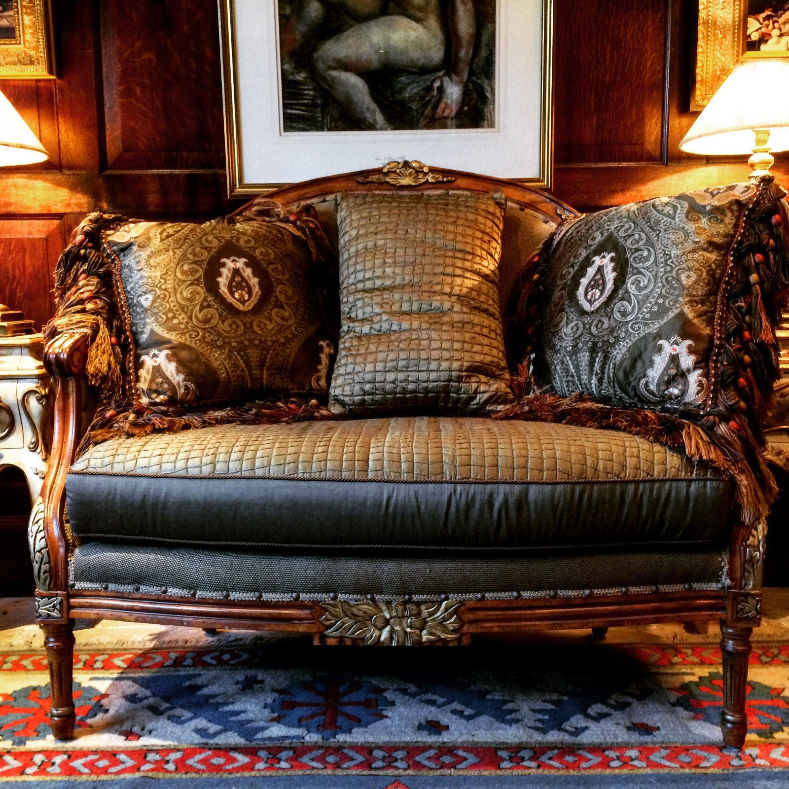 Fabulous Antique Style French Sofa Settee Salon Love Seat With Ottoman 2 Seater