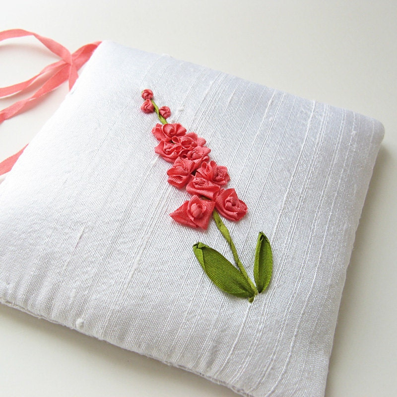 Lavender sachet coral flowers silk ribbon embroidery by
