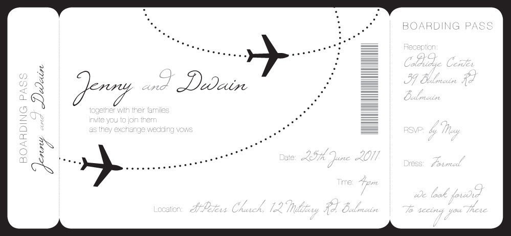 Boarding Pass Wedding Invitation Template Printable Broprahshow – Boarding Pass Template