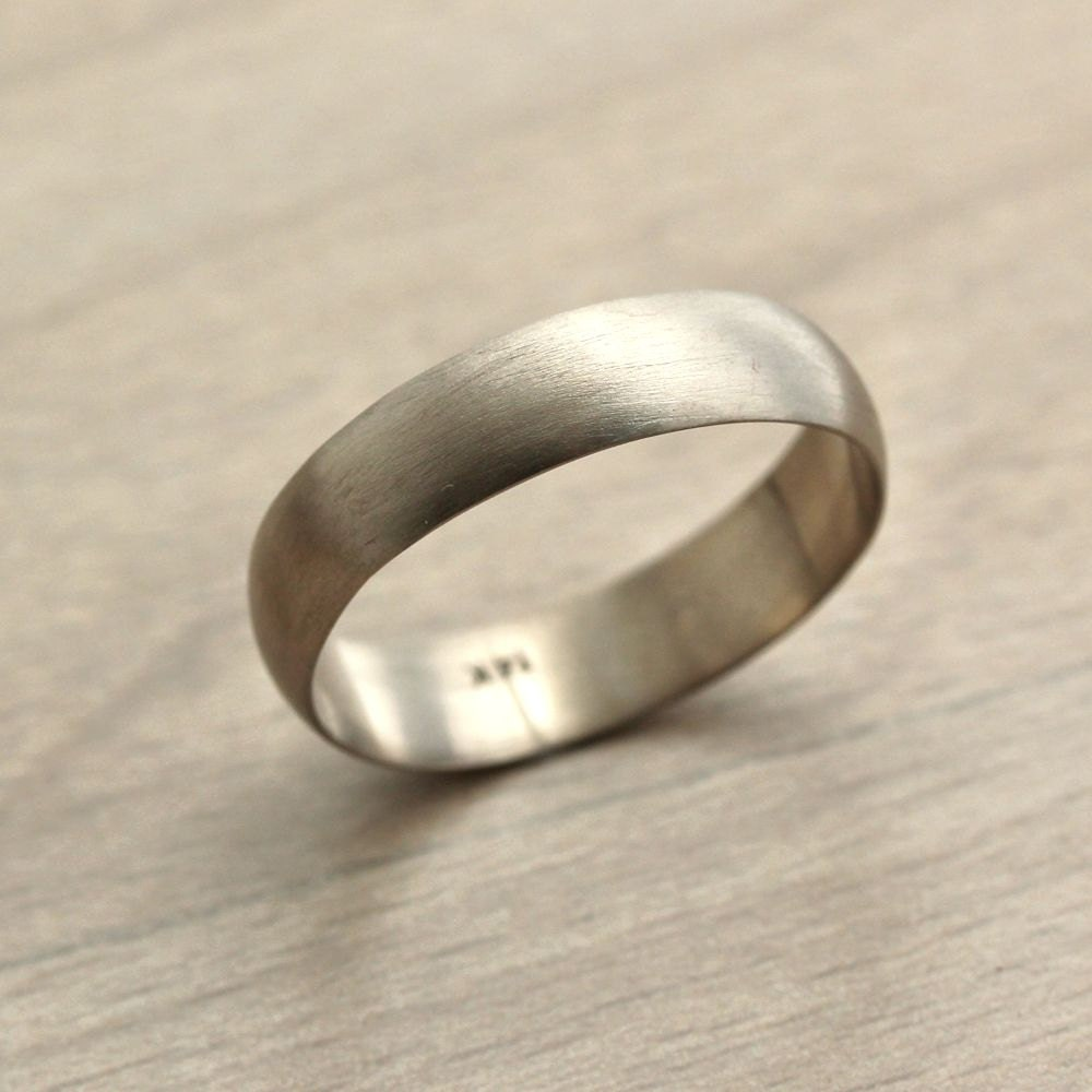 brushed gold wedding band Men s Wedding Band 4 5mm Low Dome 14k Recycled Hand Carved Palladium White Gold Wedding Ring Made in Your Size White gold weddings Wedding and Wedding