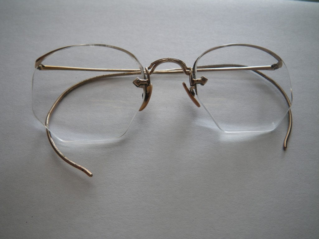 Rimless Octagon Eyeglass Frames : Vintage American Optical Eyeglasses Semi Rimless Gold by ...