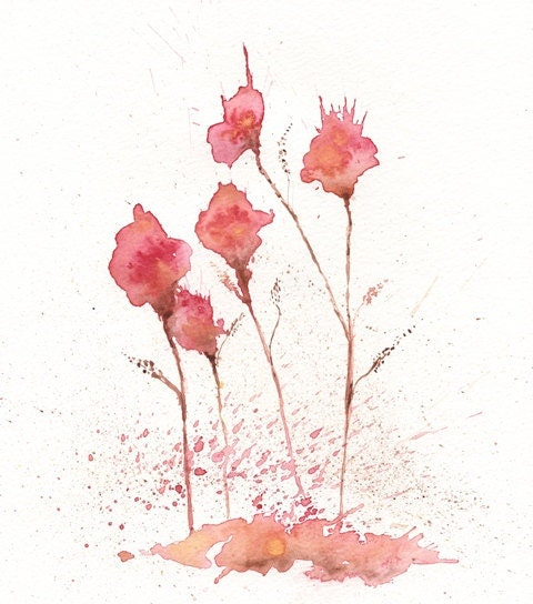 My Darling Flower 5x7 Red Flowers reproduction of Original Watercolor painting