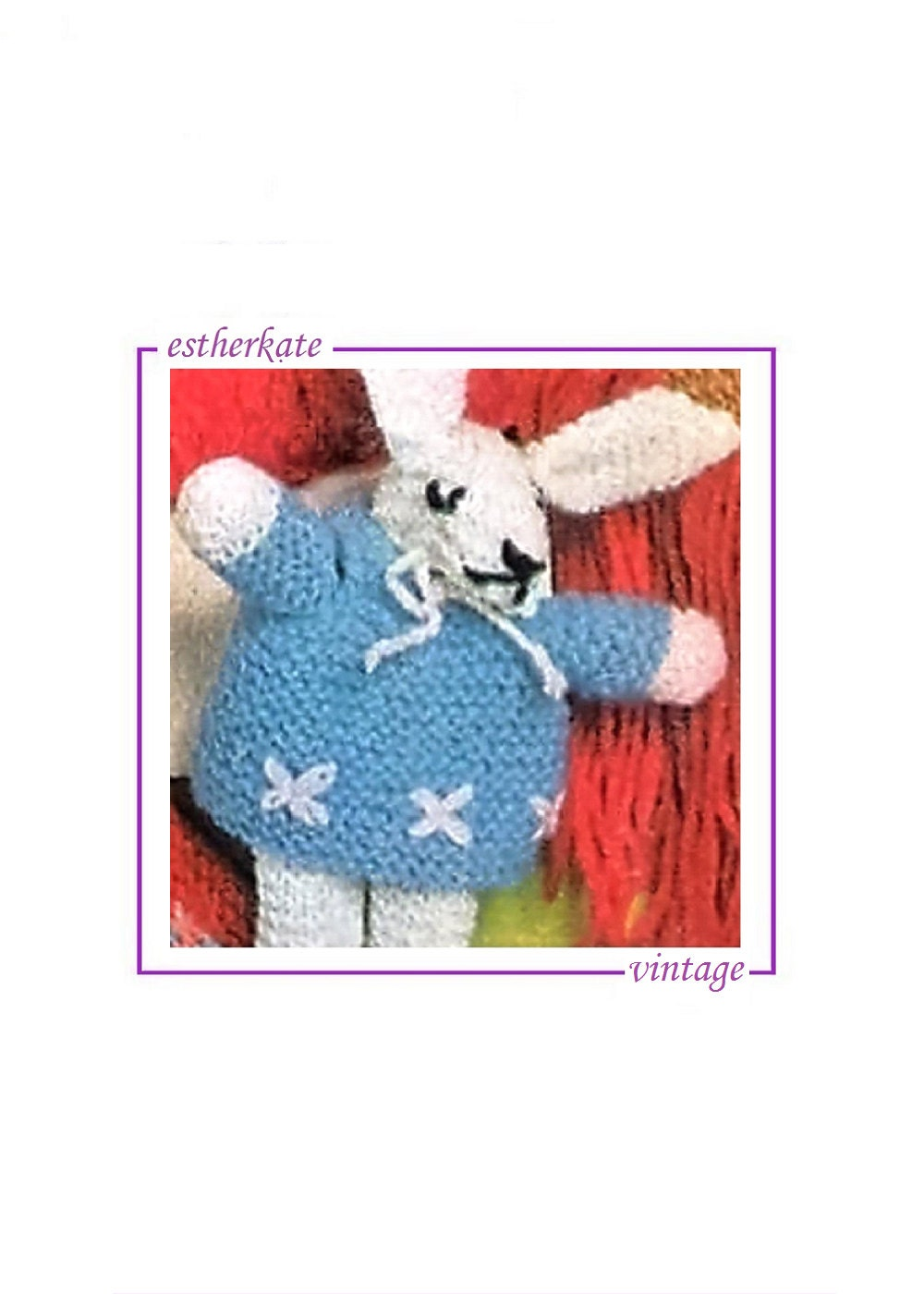 VINTAGE knitting pattern pdf Easter knitted bunny doll toy 6 inch toy INSTANT DOWNLOAD