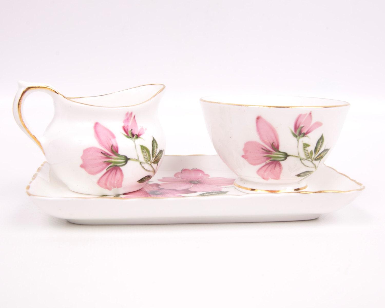 Vintage H M Sutherland Pink Sugar Creamer Set White Bone China Demitasse Floral Made in England 3 Piece Set - LeVintageGalleria