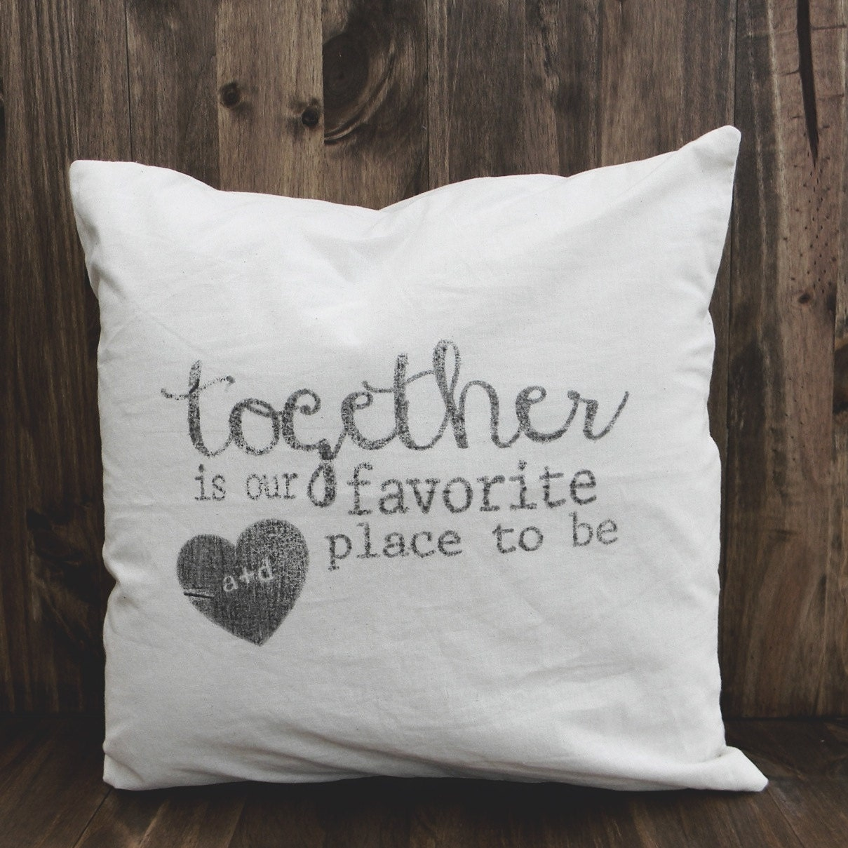 Together is Our Favorite Place To Be 16 x 16 Personalized Pillow Cover, couple, wedding gift, engagement gift, newlywed, wedding shower