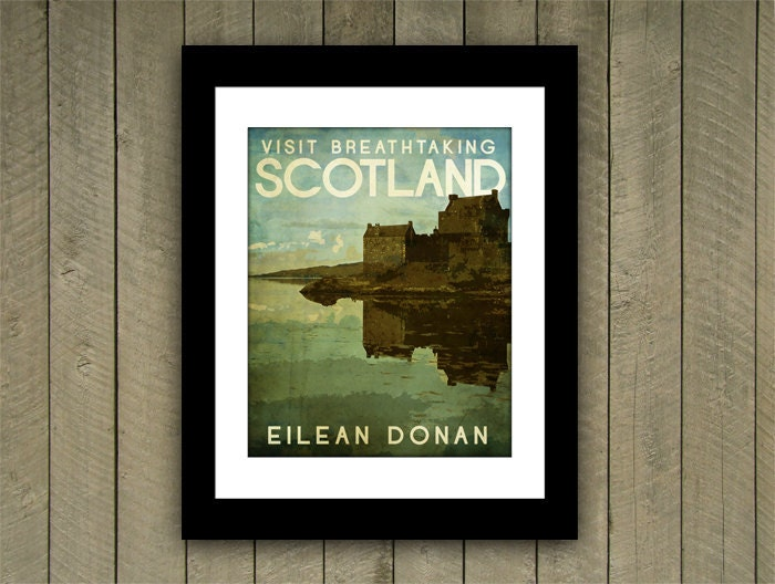Scotland Travel Print 12x15 Poster Eilean Donan in Rich Green, Blue, Brown Textures - JustABitOutside