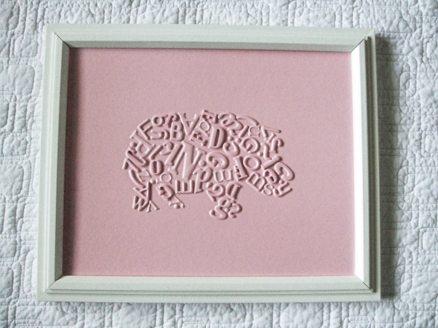 Light Pink Hippo - Framed Original Typography Collage - nursery / kids room artwork