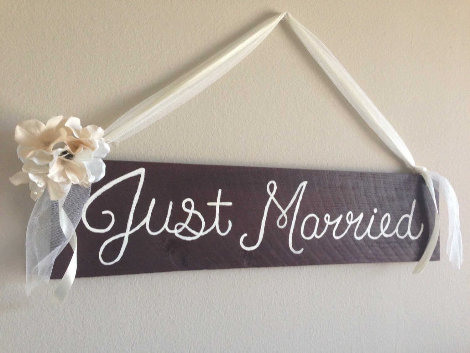 Request a custom order and have something made just for you for Just married dekoration