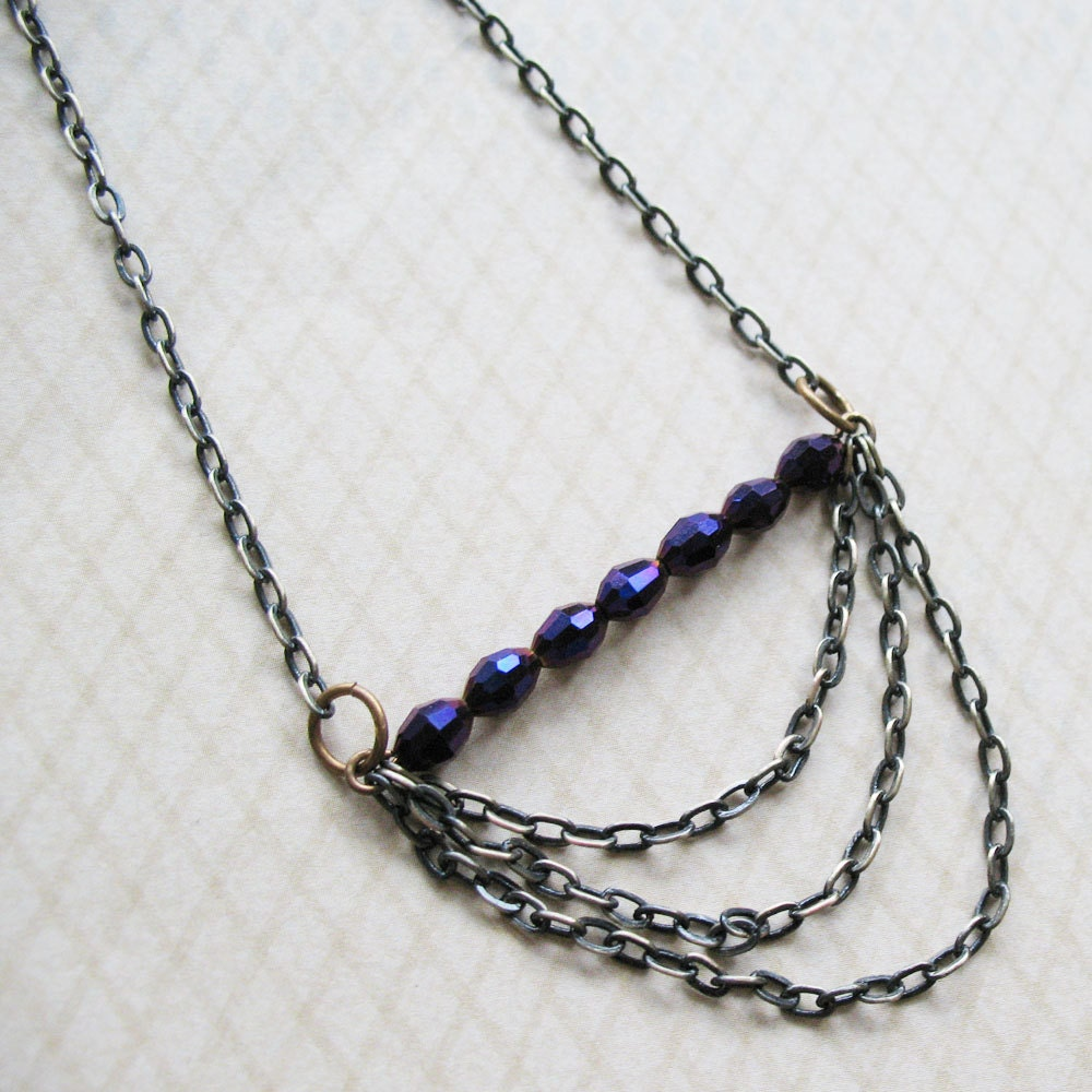 Royal Purple Czech Bead and Multi-Strand Chain Necklace - pulpsushi