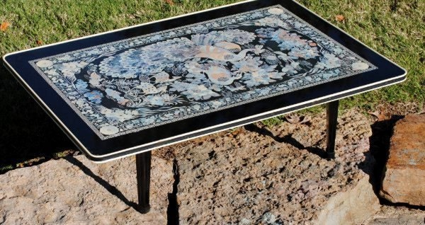 Folding coffee table asian black lacquer by vintageeclecticity for Peacock coffee table