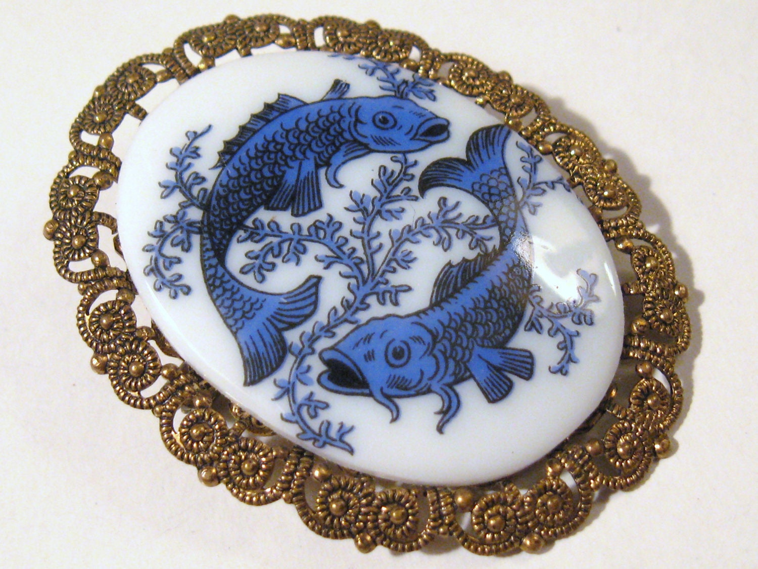 Vintage asian chinese koi carp fish blue by covetedcastoffs for Chinese koi fish for sale