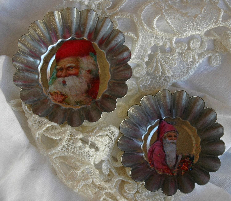 Викторианской рождественские магниты, марочные tartlett банки, Блеск-поцеловал tartlett банки