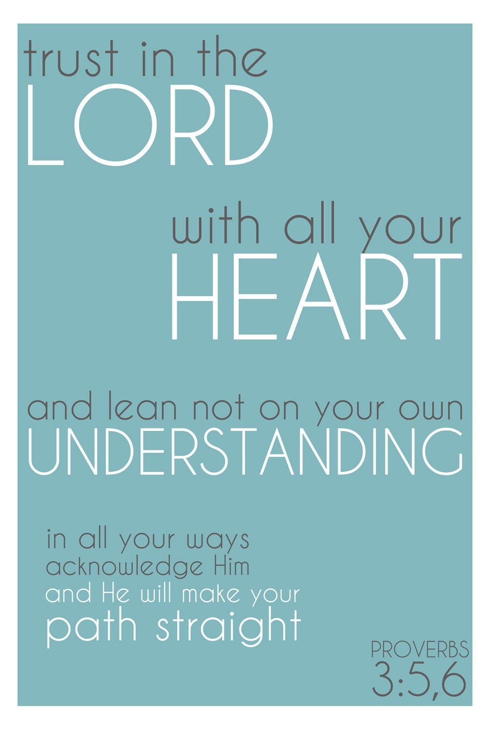 Word Art Print: Trust In the Lord with all your heart Proverbs 3v5-6 bible verse quote poster - blue white simple decor - rdprints