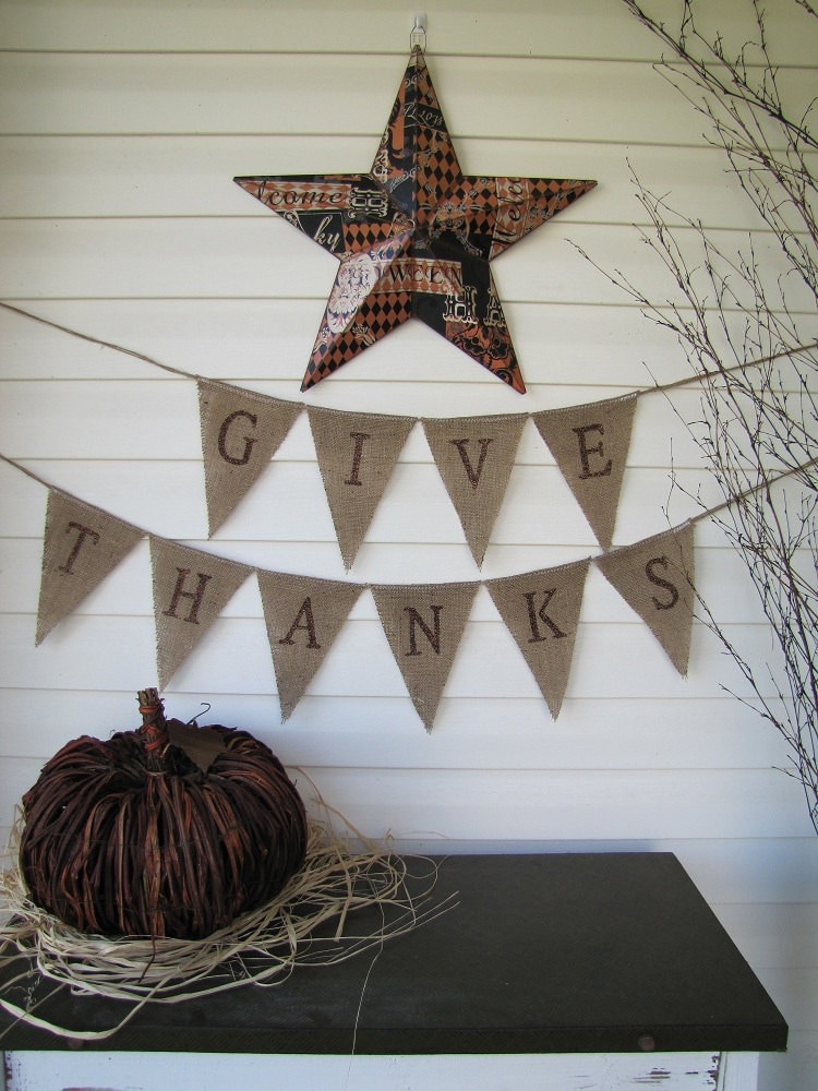 Items Similar To Give Thanks Glittered Burlap Pennant