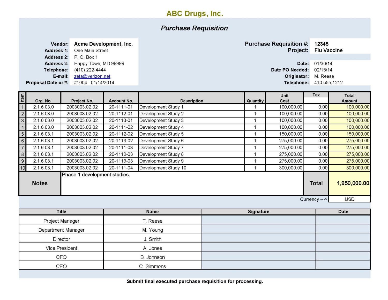 PURCHASE REQUISITION FORM SpreadsheetZONE Free Excel - mandegar.info