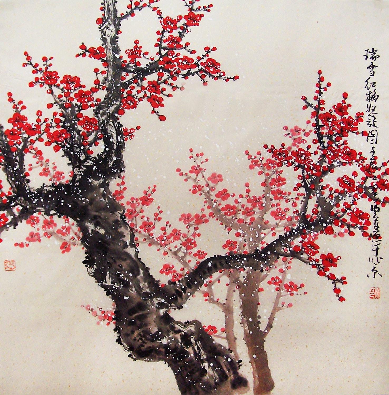 Original painting chinese art oriental art lovely cherry for Cherry blossom mural works