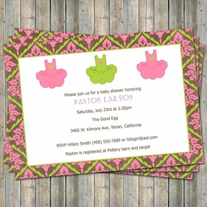 dance baby shower invitation tutu modern and bright digital
