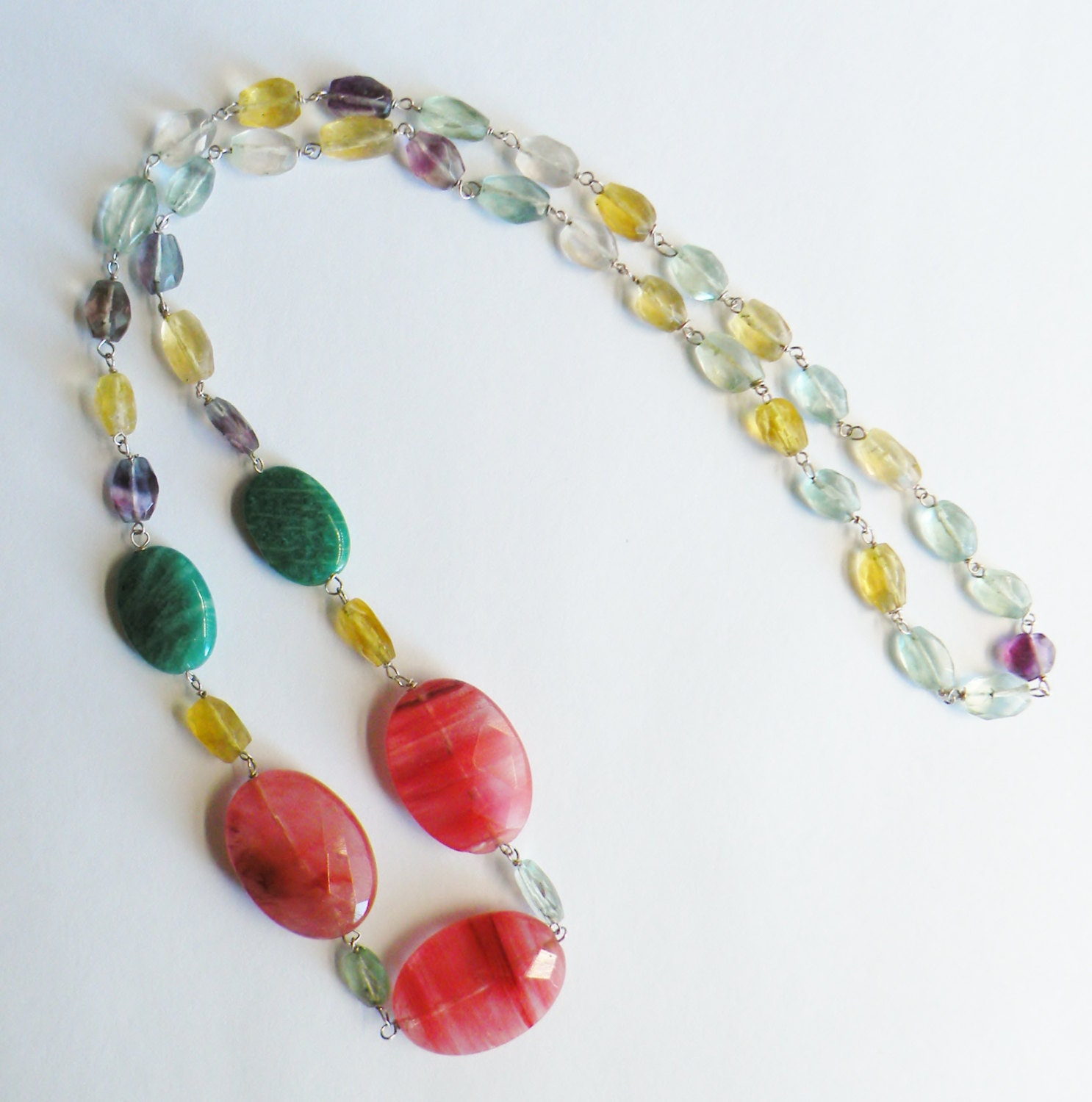 Gemstone Necklace -  Cherry quartz, Amazonite and Fluorite Sterling Silver Handmade Beaded Necklace - Multicolor