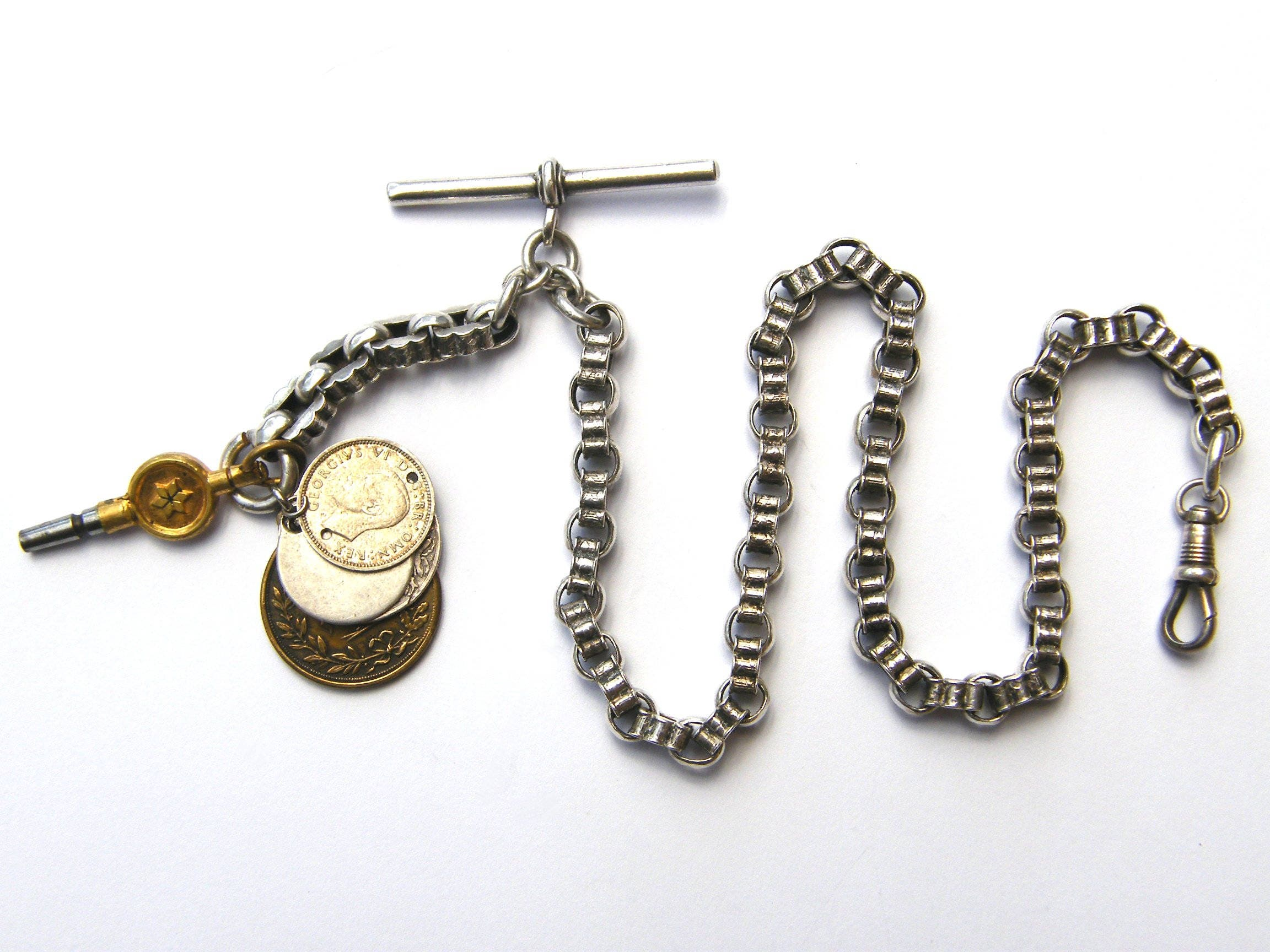 AntiqueSolid Sterling Silver Ribbed Belcher Pocket Watch Albert Chain With Coin Fobs  KeyBhamcirca 1902