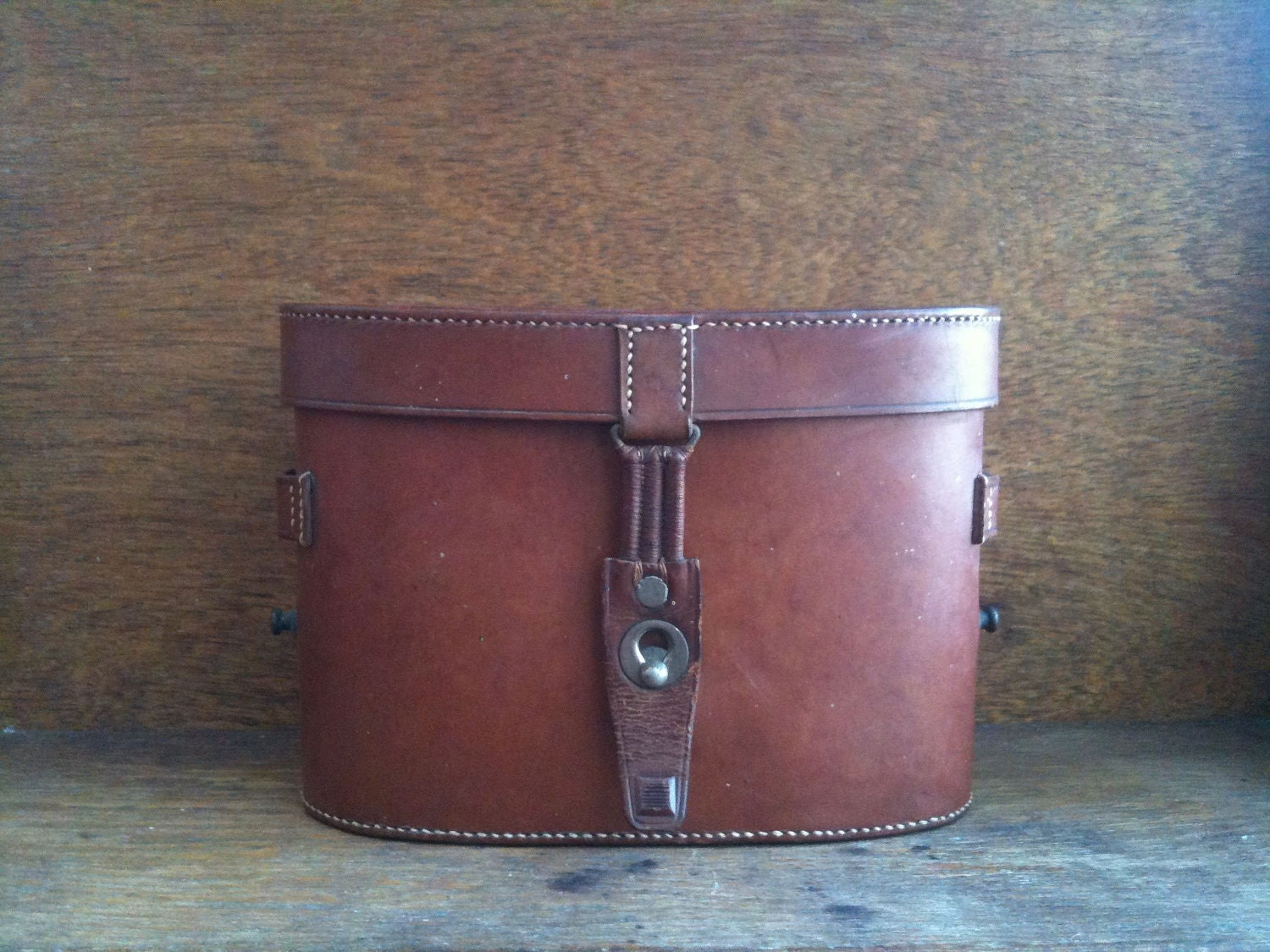 Vintage English Binocular Case, Brown Hand Sewn Leather - EnglishShop