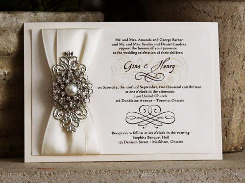 Rhinestone Wedding Invitations with nice invitation sample
