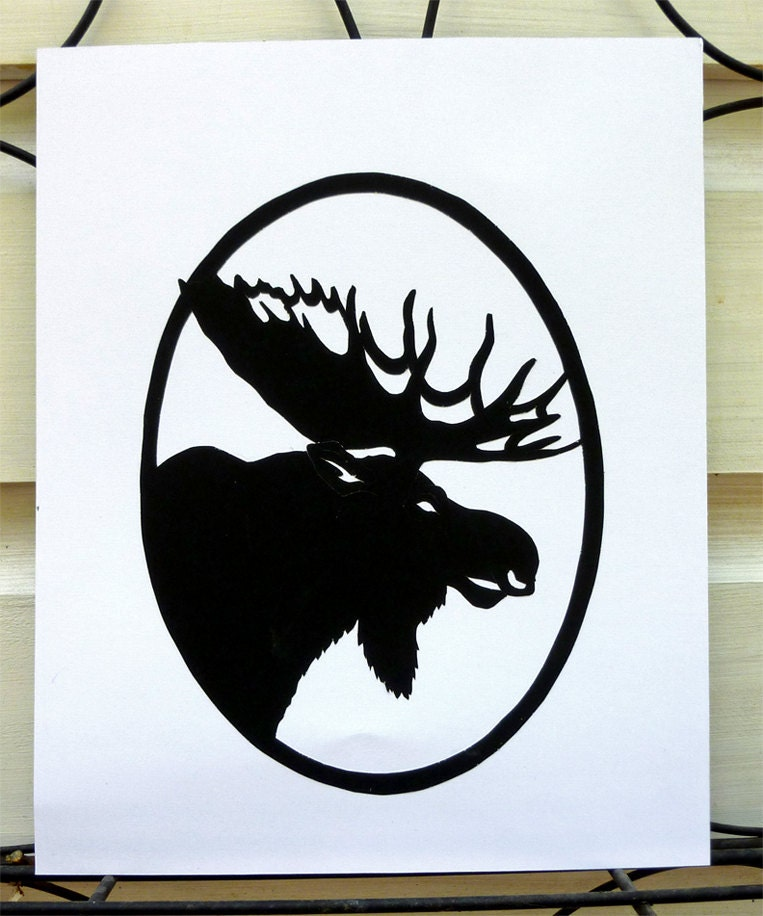 Items similar to Moose Head Handmade Paper Cut Silhouette ...