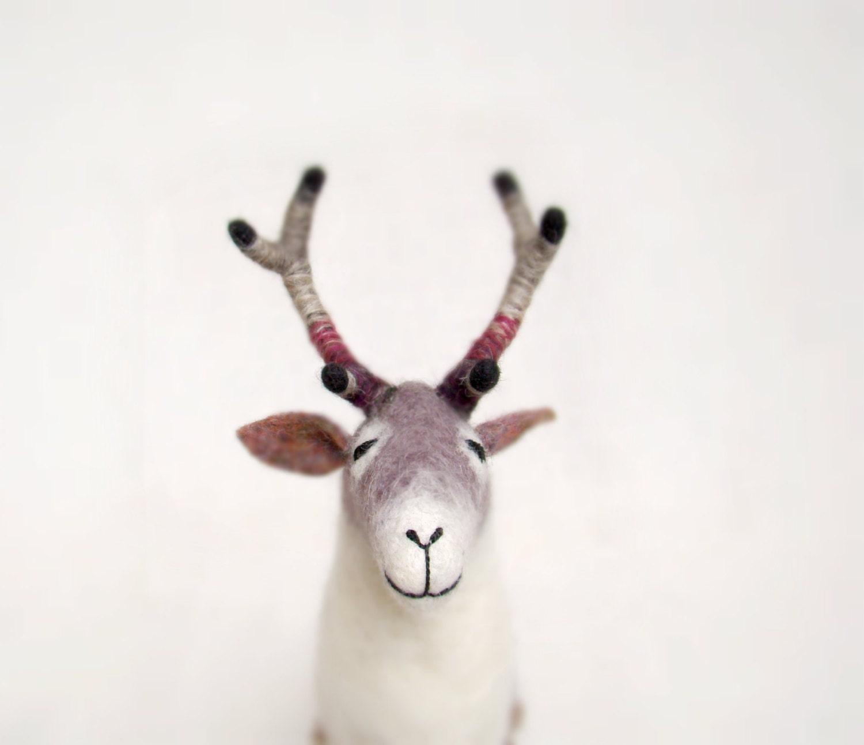 Reinhold - Felt Reindeer. Art Puppet, Marionette, Stuffed Animal, Felted Toys. grey, gray, purple, burgundy. MADE TO ORDER