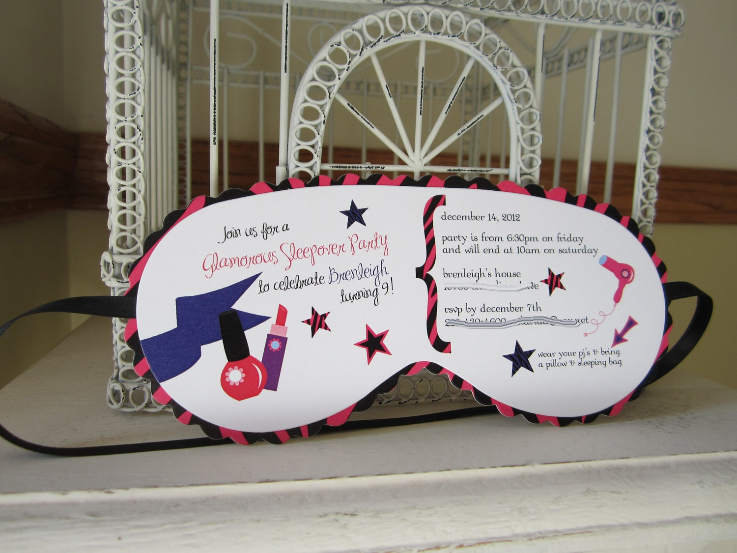 Sleeping Mask Invitation Custom Die Cut by BeautifullyInviting