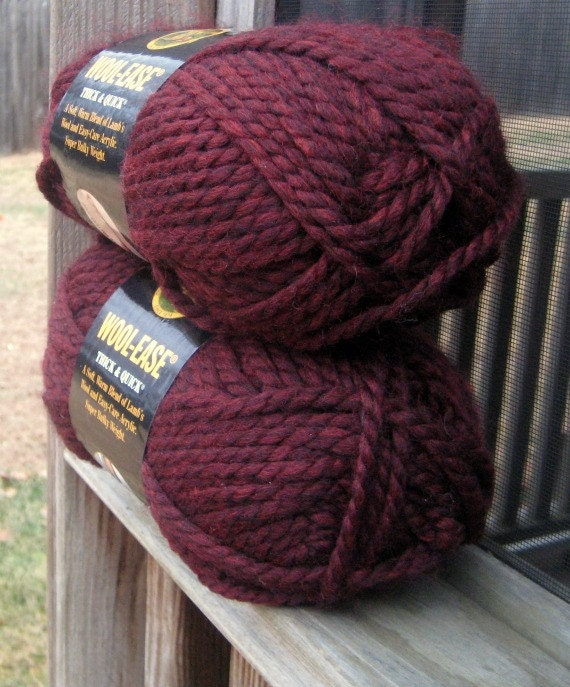 Knitting Patterns Wool Ease Thick Quick : Lion Brand Wool Ease Yarn Claret Thick and by MoomettesCrochet