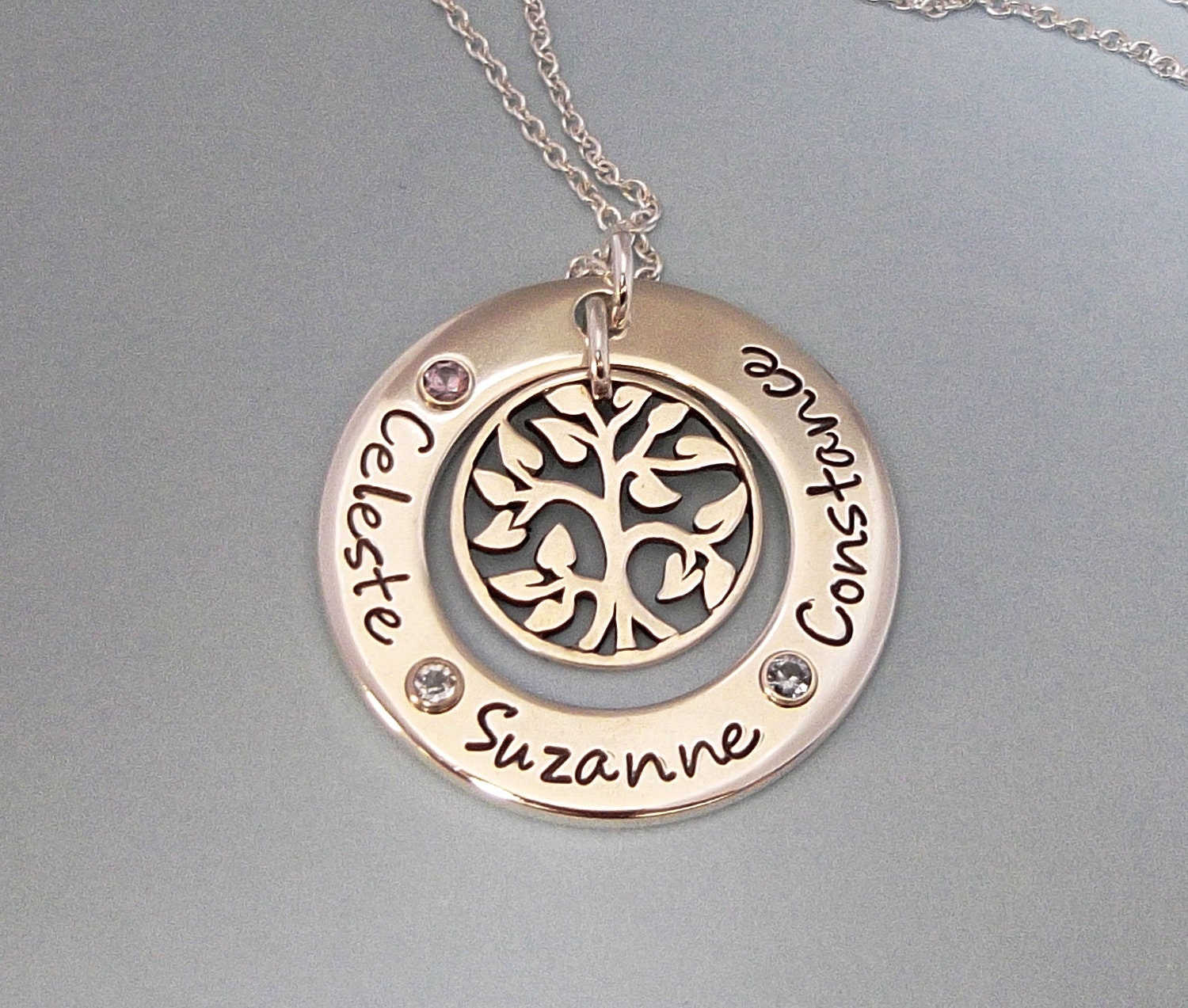 Family Gems Circle Celebration with Tree of Life Charm - Handstamped Jewelry ...