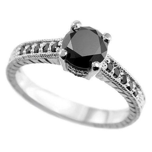 Rose gold ring black diamond rose gold ring etsy vintage