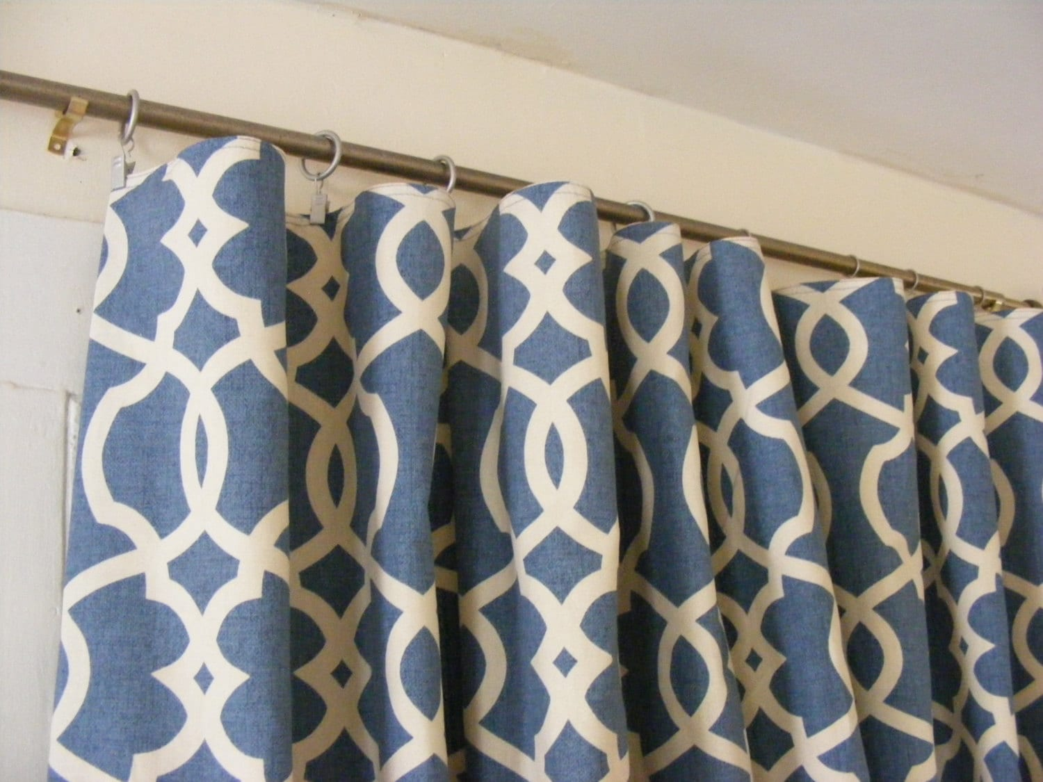 Curtain panels cobalt blue nautical and other prints 40 w x 84 l