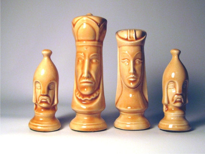 Vintage 1970s chess pieces fun decorative by funkygoldpatina - Ornamental chess sets ...