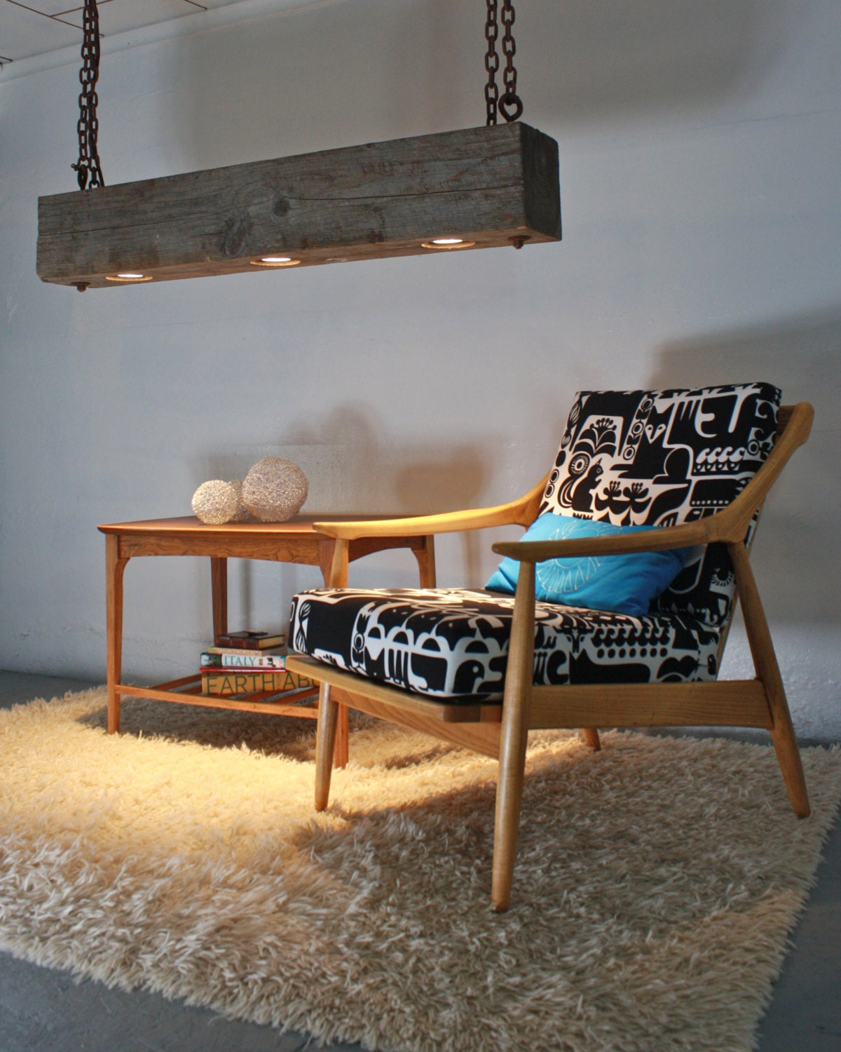 rustic modern hanging reclaimed wood beam light fixture with rusted. Black Bedroom Furniture Sets. Home Design Ideas