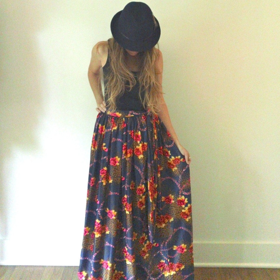 high waisted floral maxi skirt 60s 70s navy by jacknboots