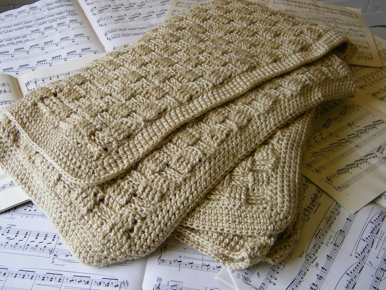 Crochet Basketweave Afghan by HookedandThreaded on Etsy
