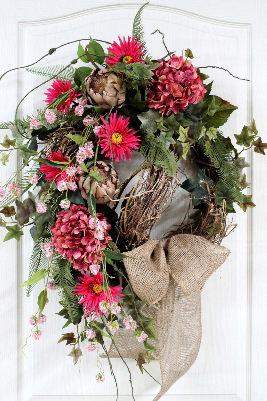 Items similar to spring wreath summer wreath front door wreath