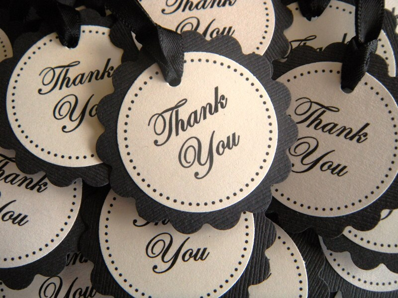 50 Black and Cream Scalloped Circle Thank You Favor Tags - READY TO SHIP