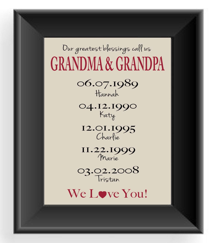 Personalized grandparents gift print gift for grandma amp grandpa