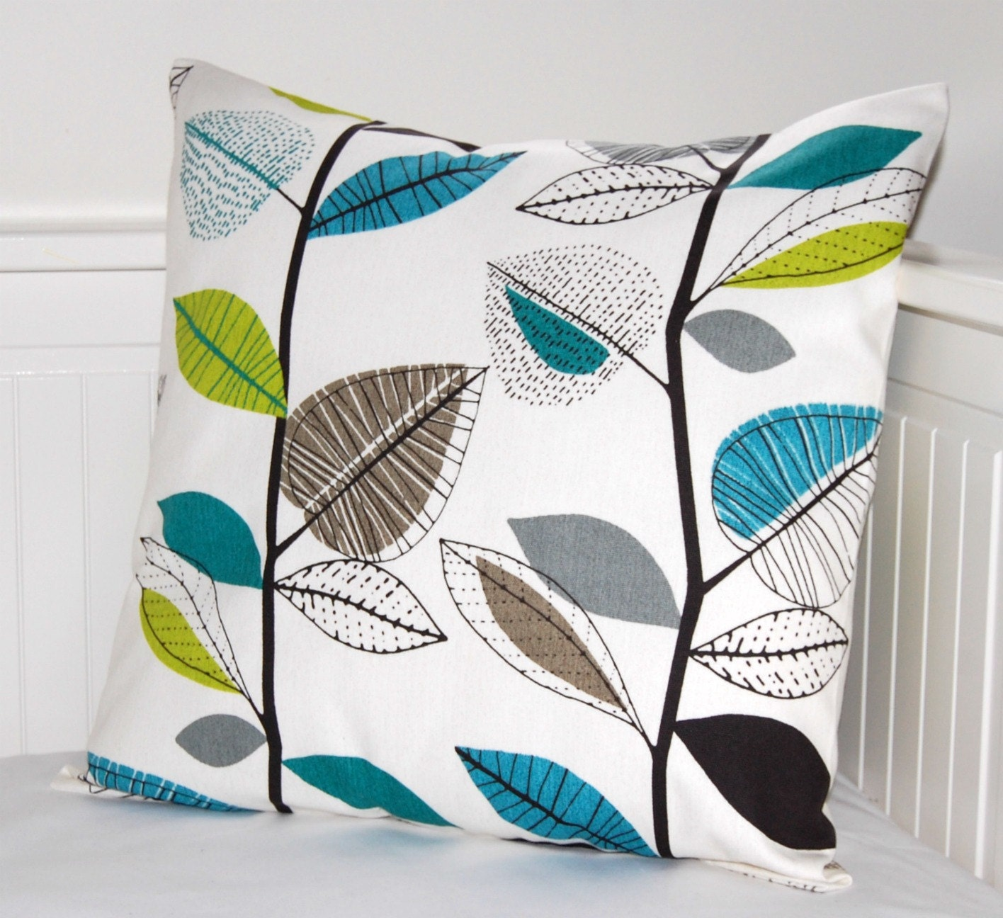 blue lime green grey leaves cushion cover 18 by. Black Bedroom Furniture Sets. Home Design Ideas