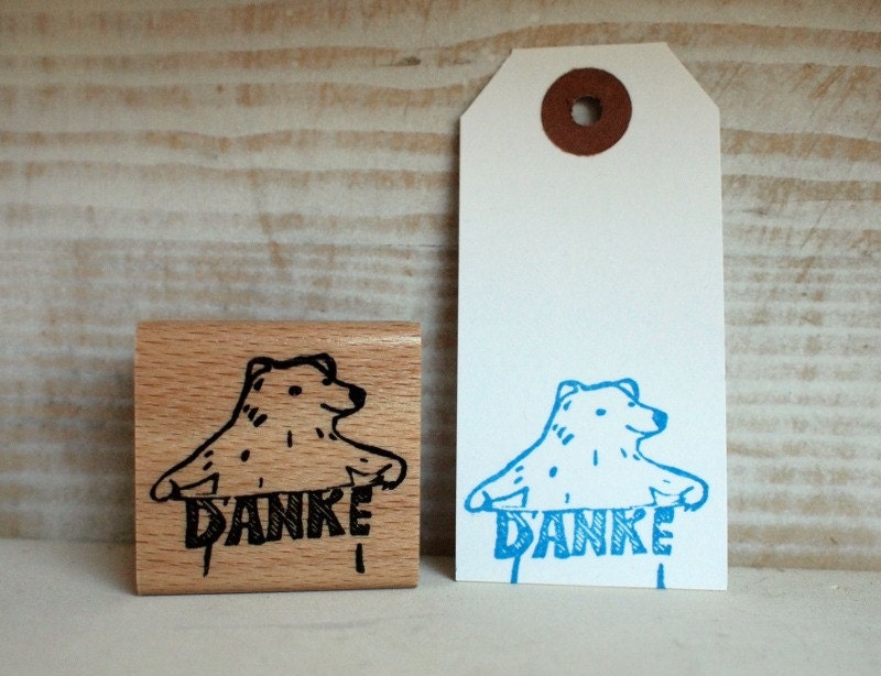 Danke-polar bear - rubberstamp - 40x40mm - SiebenMorgen