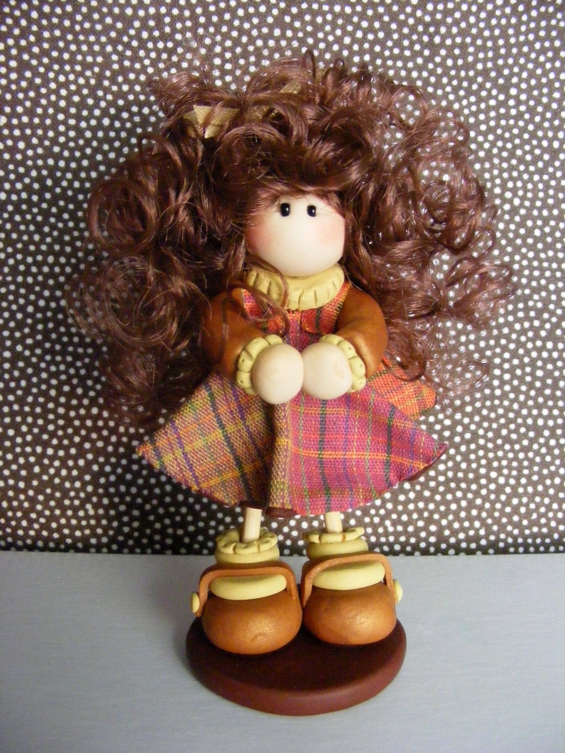 "Clay figurine  ""Happy Fall Y'all"" doll - NeldasScrapRoom"